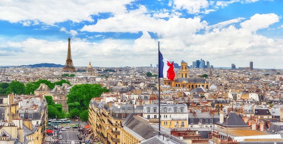 Paris France Skyline with French Flag