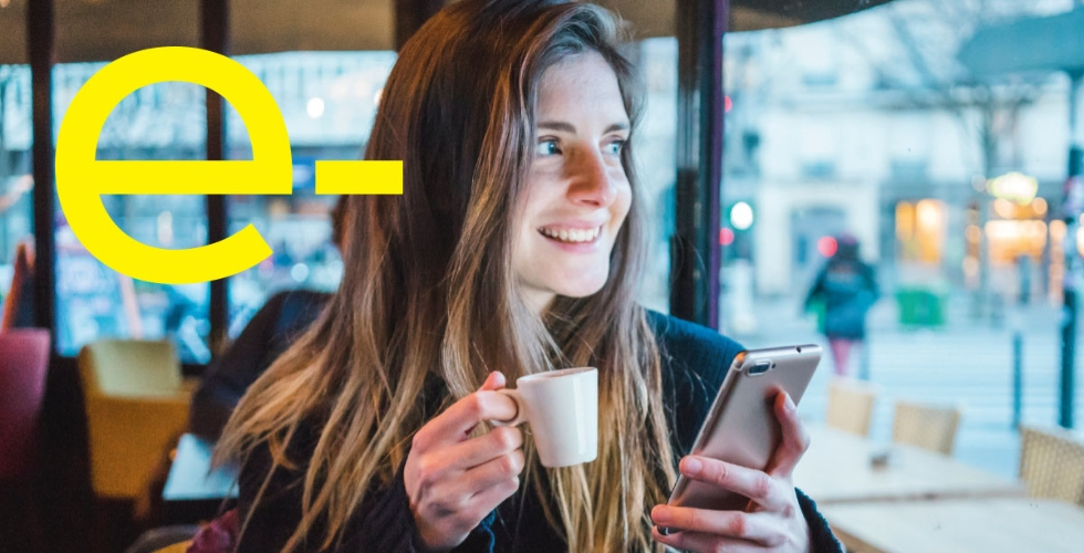 Female online shopping on cell phone